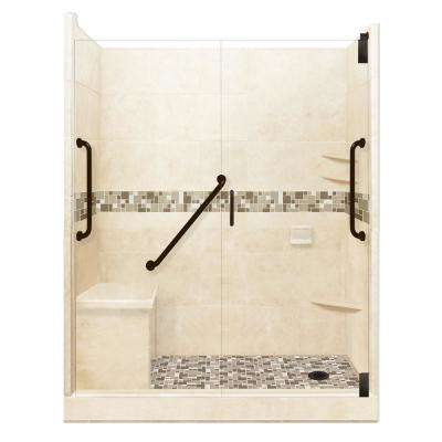 Tuscany Freedom Grand Hinged 30 in. x 60 in. x 80 in. Right Drain Alcove Shower Kit in Desert Sand and Old Bronze