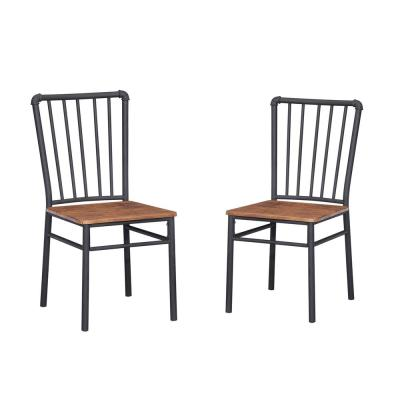 Balthazar Industrial Gray Steel and Brown Faux Wood Chairs (Set of 2)