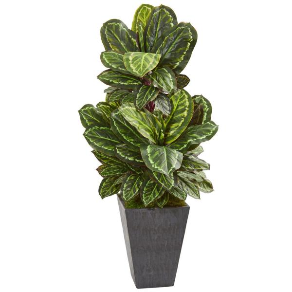 Nearly Natural Indoor 53-In. Maranta Artificial Plant in Slate Finished Planter
