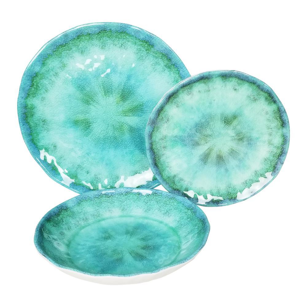 Fountain 12-Piece Turquoise Melamine Set