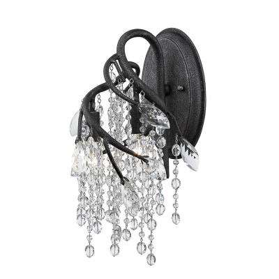 Autumn Twilight 5.5 in. 3-Light Black Iron Sconce