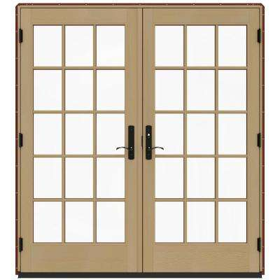 72 in. x 80 in. W-4500 Mesa Red Prehung Left-Hand Inswing French Patio Door with Contemporary Frame