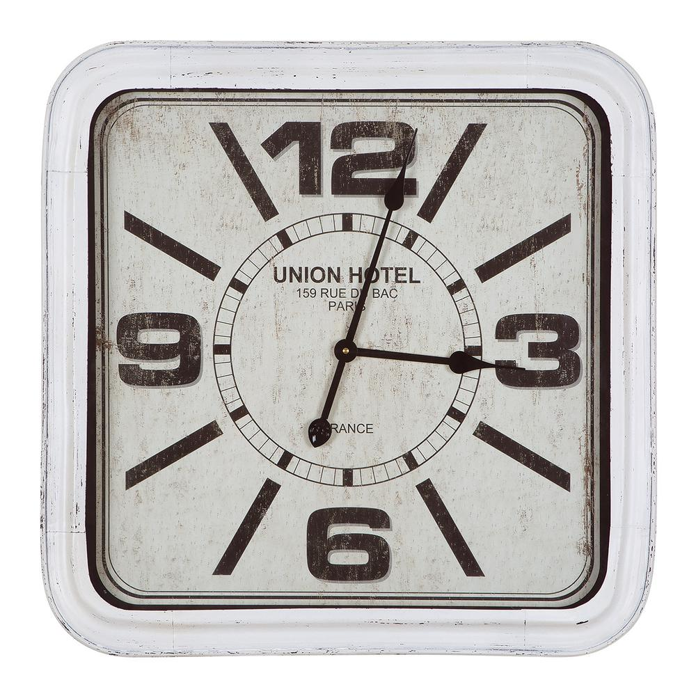 Yosemite Union Hotel Distressed White Square Wall Clock, ...