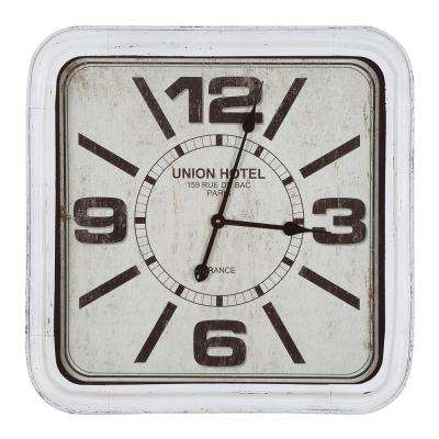 Union Hotel Distressed White Square Wall Clock