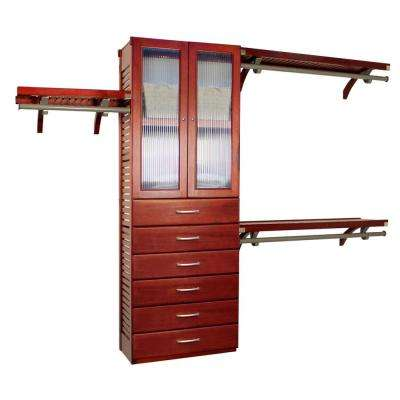 12 in. D x 120 in. W x 96 in. H Deep Premier Wood Closet System with Doors and 6 Drawers (6 in. Deep) in Red Mahogany