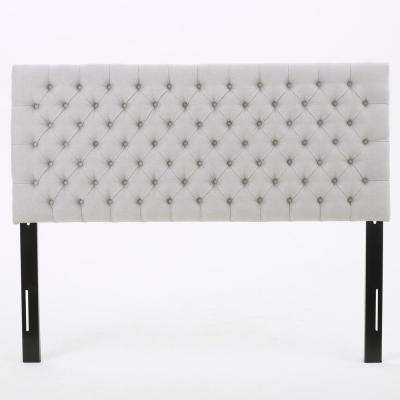 Jezebel Light Grey Fabric Tufted Queen/ Full Headboard