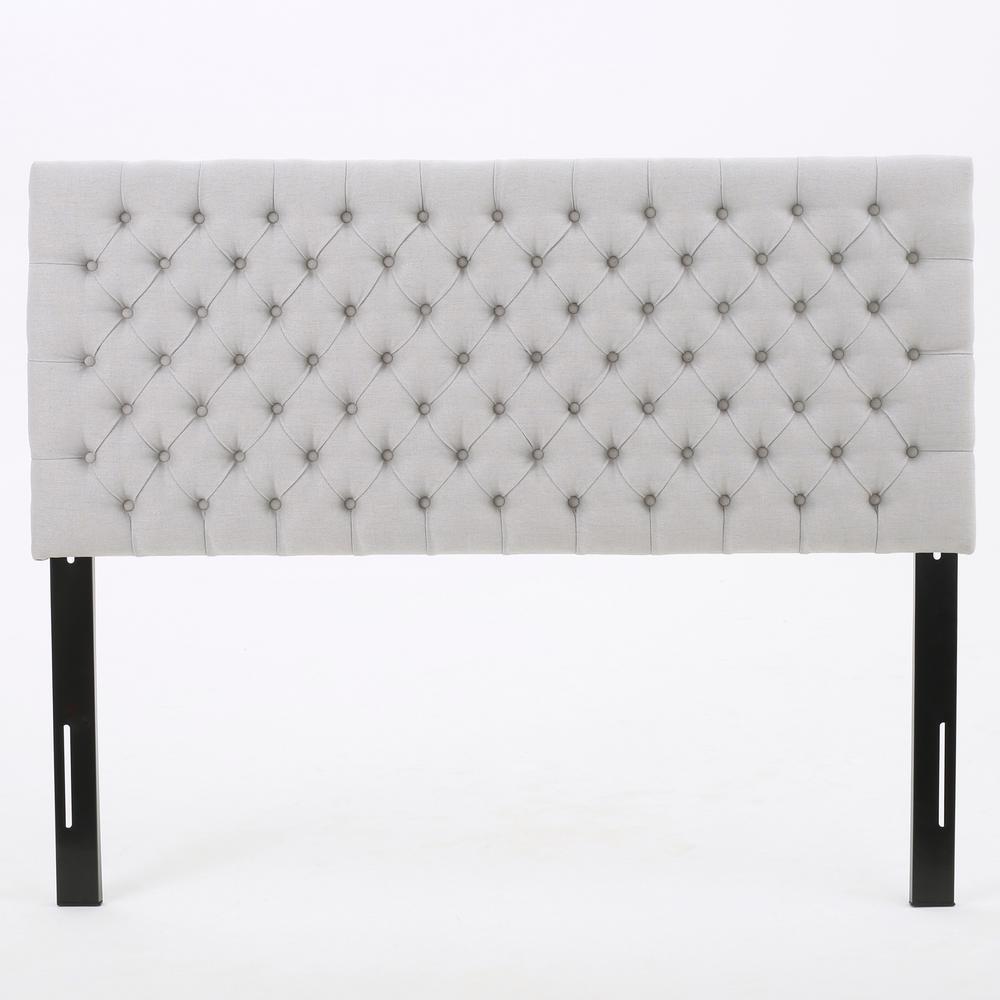 Jezebel Light Grey Fabric Tufted Queen/ Full Headboard