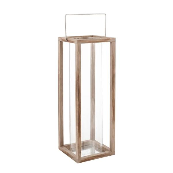 22 in. Wood and Glass Outdoor Patio Lantern
