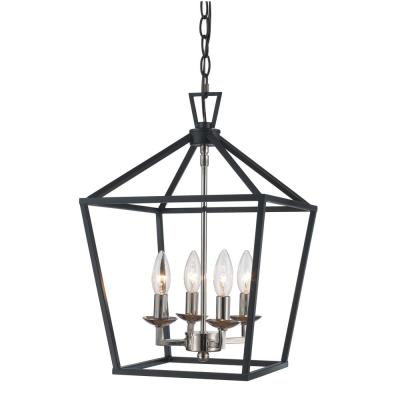 Lacey 4-Light Polished Chrome and Black Pendant