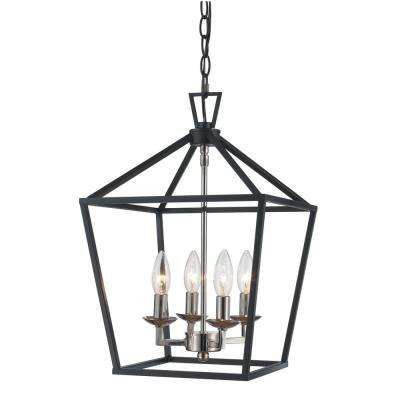 Superb Lacey 4 Light Polished Chrome And Black Pendant Gallery