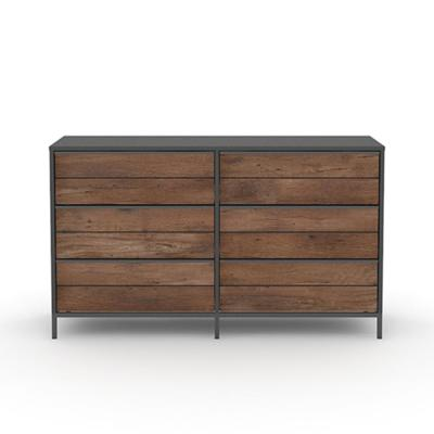 Boulevard Cafe 6-Drawer Black Dresser with Vintage Oak Accents