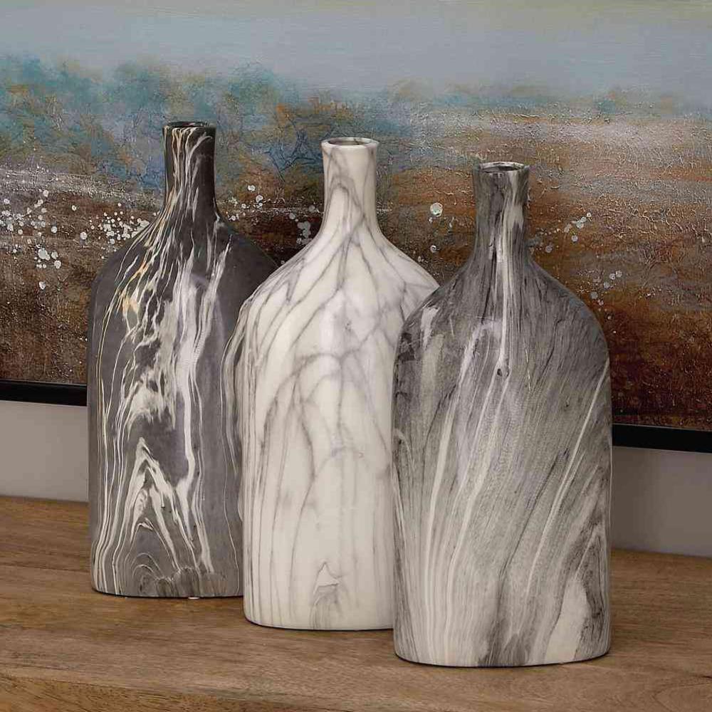 13 in. Gray Ceramic Bottle Decorative Vase (Set of 3)