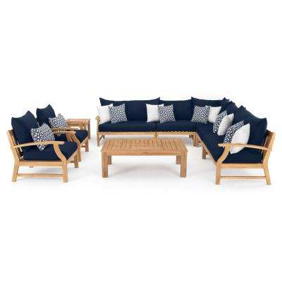 Kooper 9-Piece Wicker Patio Deep Seating Conversation Set with Sunbrella Navy Blue Cushions