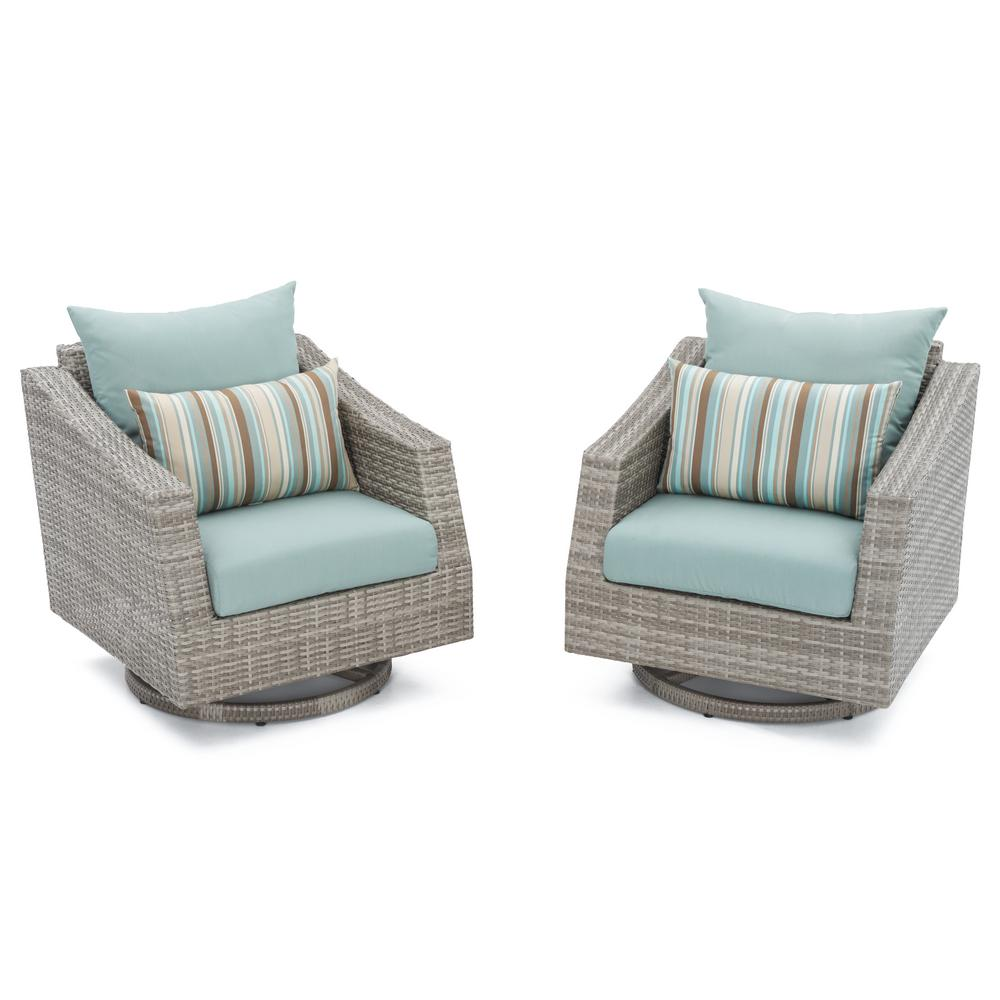 Cannes All-Weather Wicker Motion Patio Lounge Chair with Bliss Blue Cushions