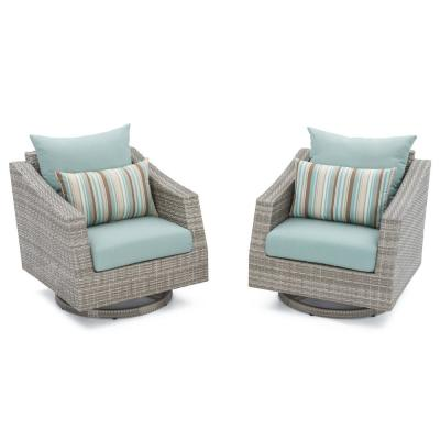 Cannes All-Weather Wicker Motion Patio Lounge Chair with Bliss Blue Cushions (2-Pack)