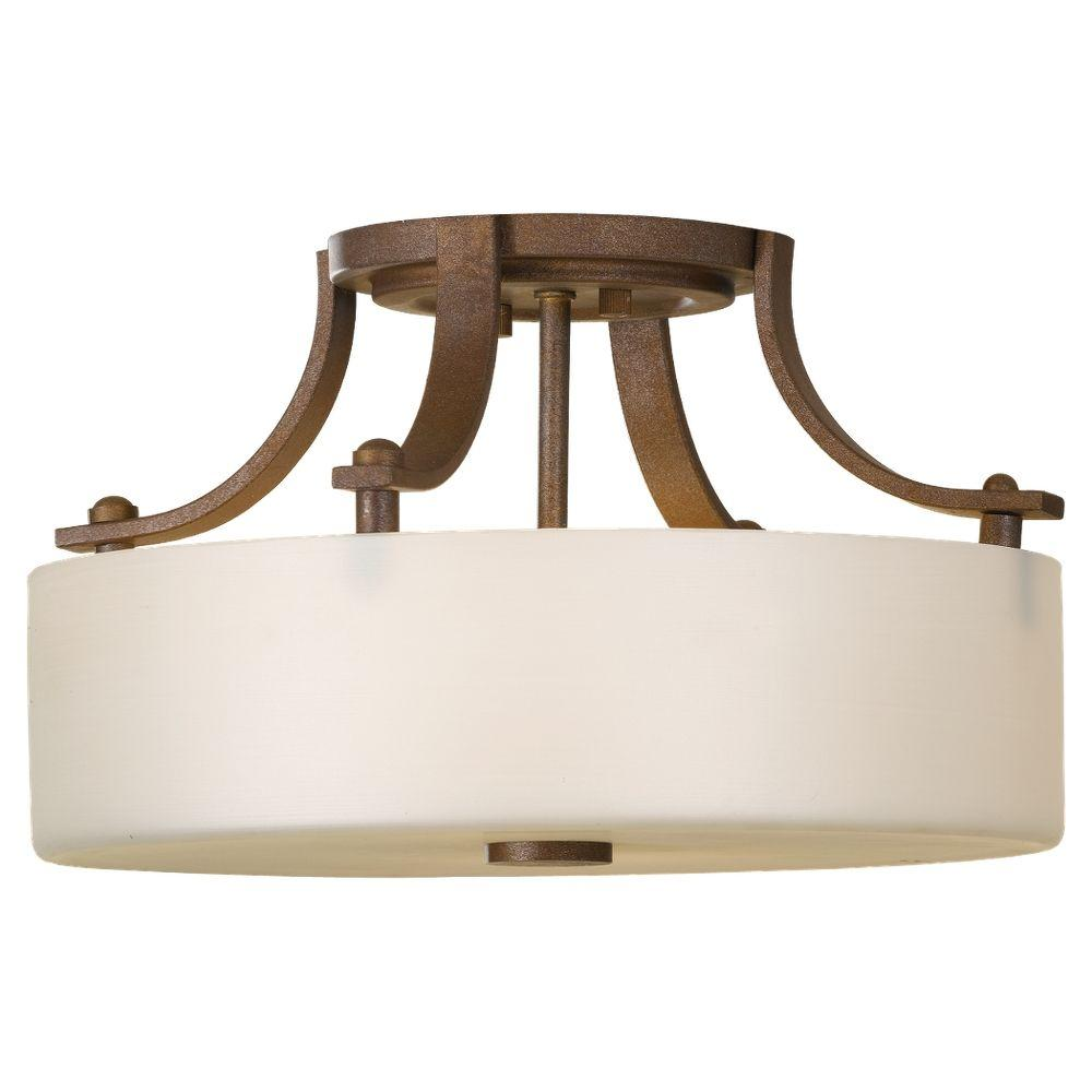 Sunset Drive 2-Light Corinthian Bronze Semi-Flush Mount