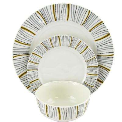 Classic Burst Decorated12-Piece Dinnerware Set Made in Ceramic