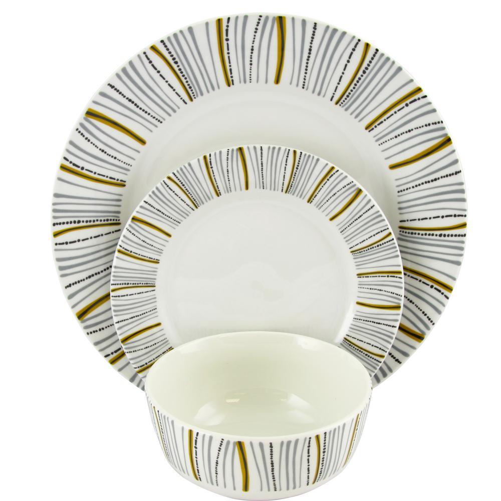 Classic Burst Decorated12-Piece Dinnerware Set Made in Ceramic