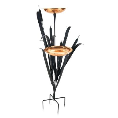 50 in. Tall Copper Double Cattail Birdbath with 2 Bowls and Stake
