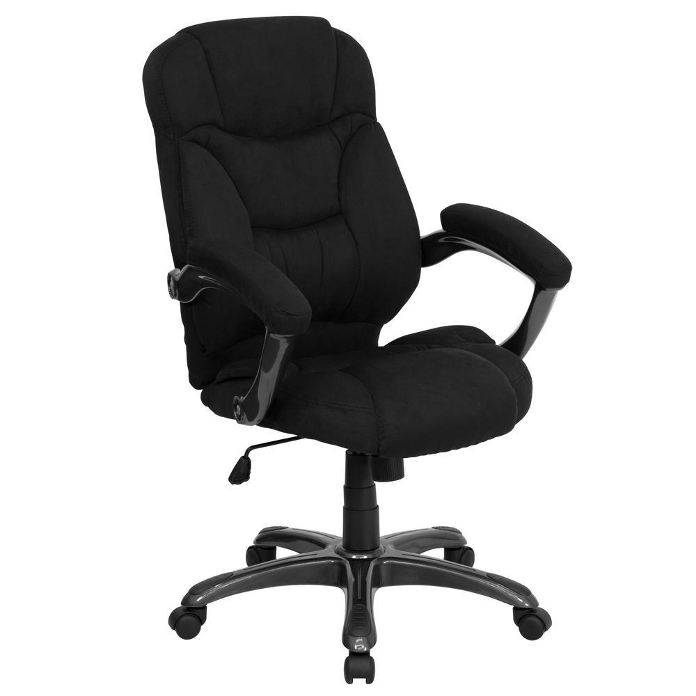 High back black microfiber contemporary executive swivel office chair