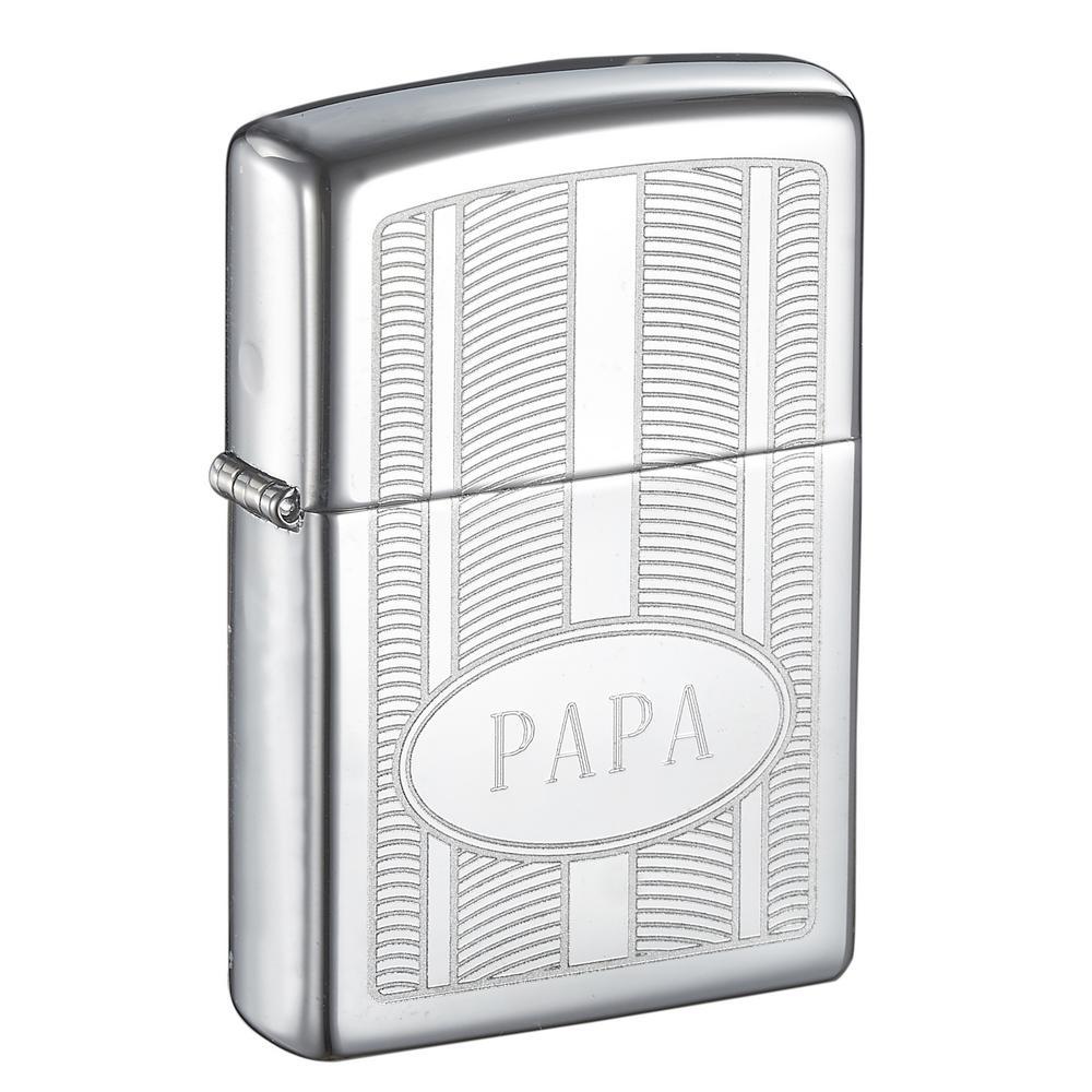 "Zippo ""PAPA"" Oval High Polish Father's Day Lighter"