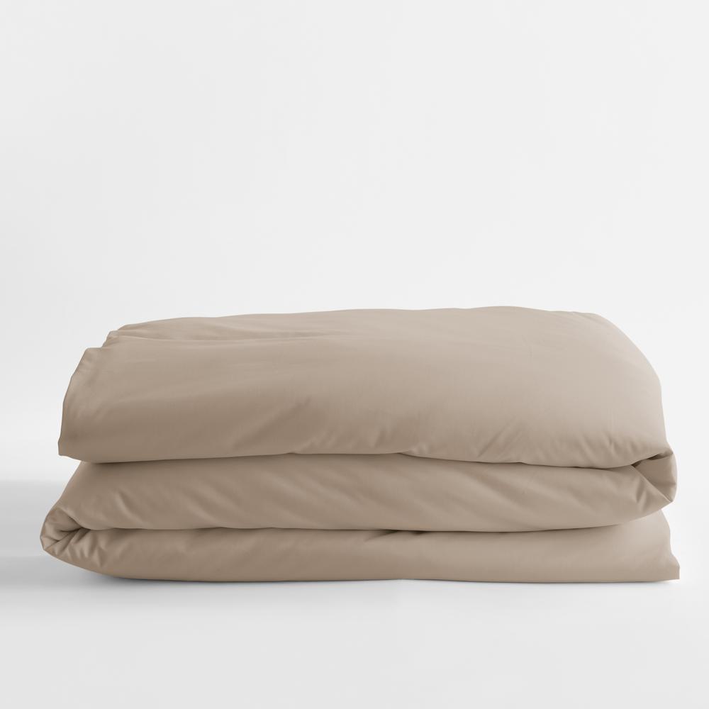 Legends Luxury Solid Cobblestone Cotton Sateen Queen Duvet Cover