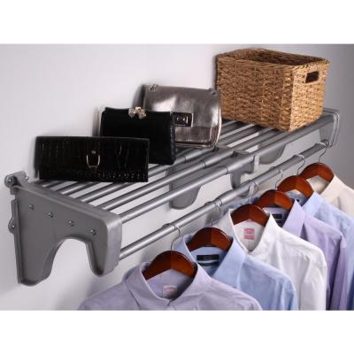 40 in. - 73 in. Metal Large Rod and Shelf in Silver with 2 End Brackets
