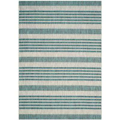 Courtyard Gray/Blue 7 ft. x 10 ft. Indoor/Outdoor Area Rug