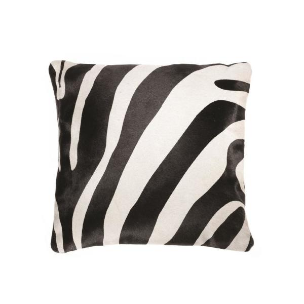 Natural Torino Togo Cowhide Black On Off White Zebra Print 18 In X 18 In Throw Pillow 676685000149 The Home Depot