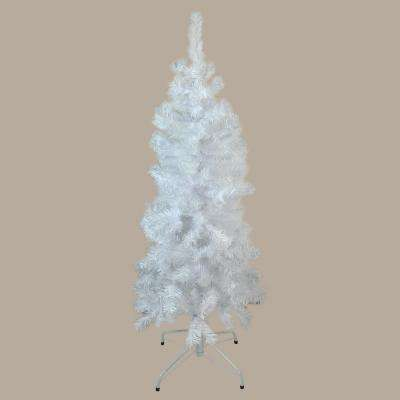 4.5 ft. x 24 in. Unlit White Winston Pine Pencil Artificial Christmas Tree