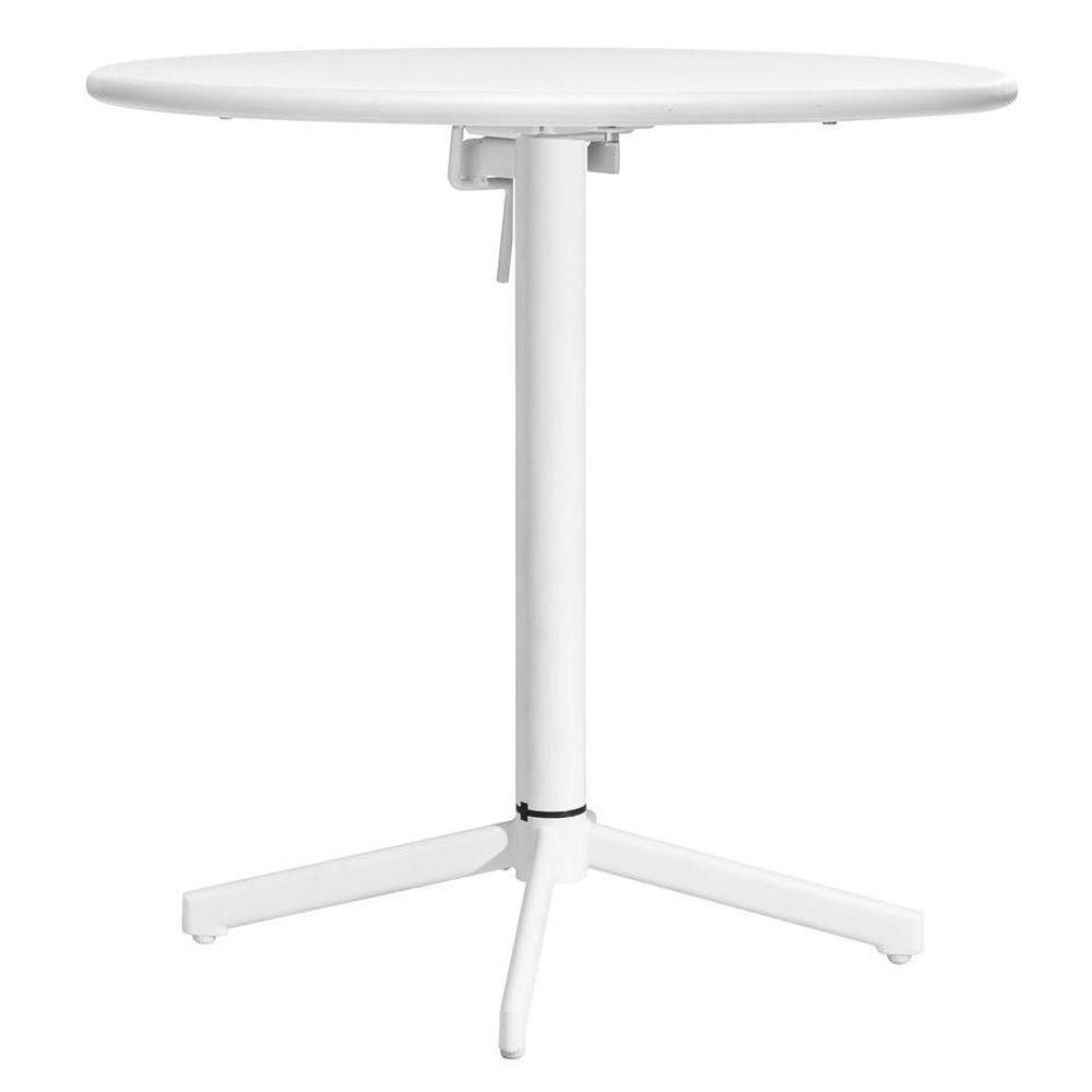 ZUO Big Wave White Patio Folding Round Table