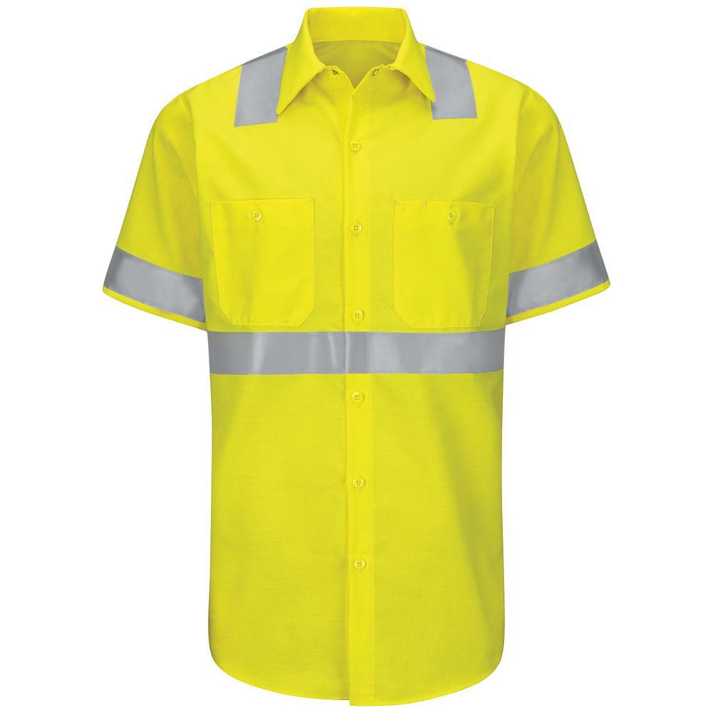 Class 2 Level 2 Men's 2X-Large Yellow/Green Hi-Visibility Ripstop Work Shirt
