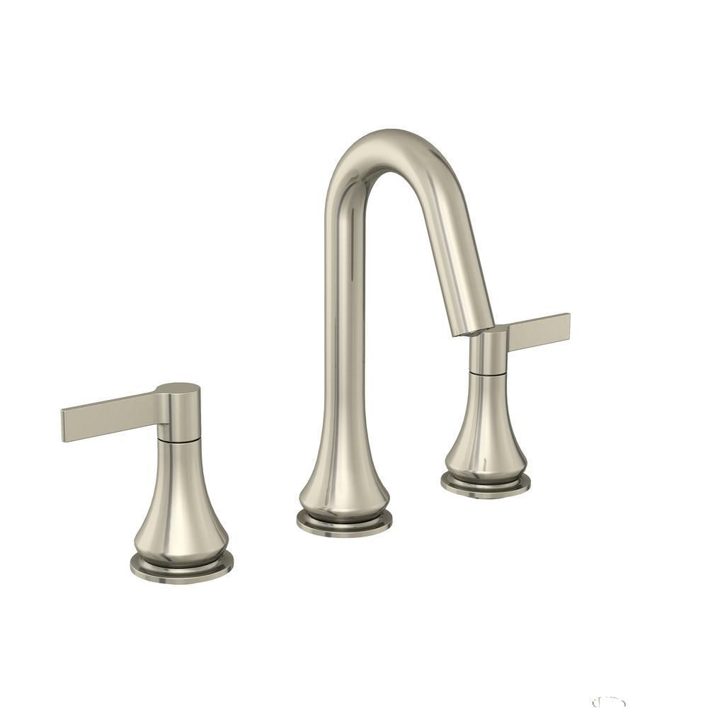GLACIER BAY Glacier Bay Springbrook 8 in. Widespread 2-Handle Bathroom Faucet in Brushed Nickel
