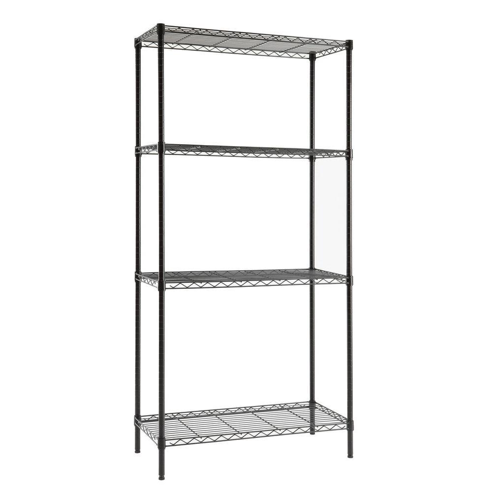 4 Shelf 72 in. H x 36 in. W x 16 in. D Wire Unit in Black