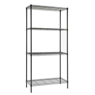 4 Shelf 72 in. H x 36 in. W x 16 in. D Wire Unit in Black
