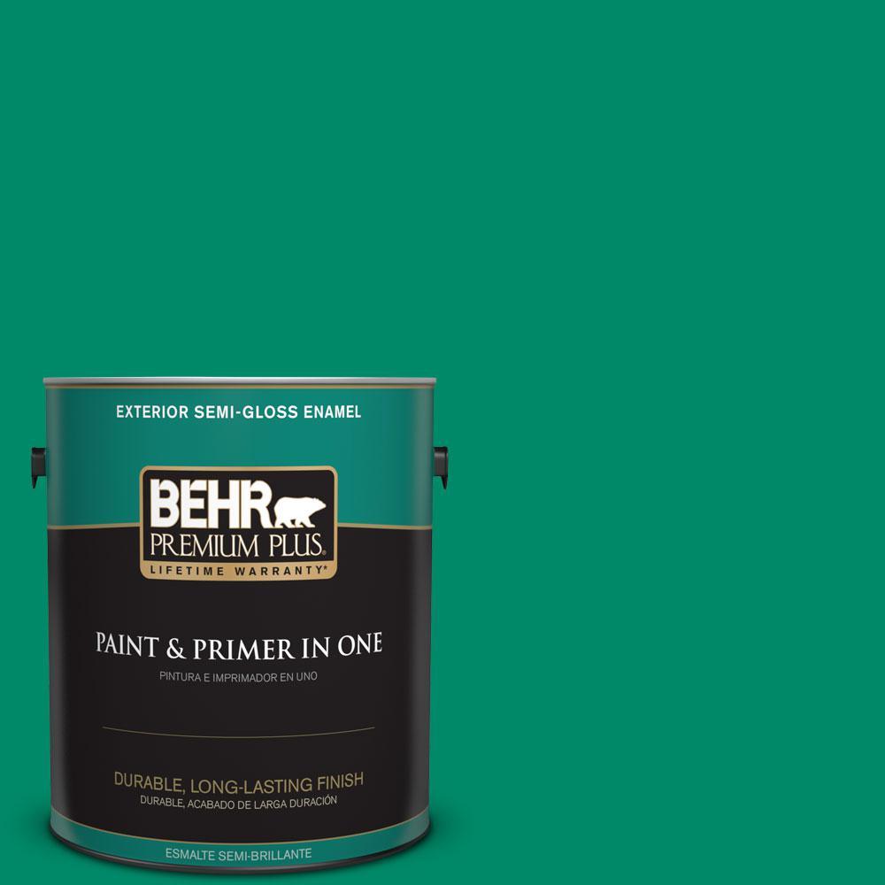 BEHR Premium Plus 1-gal. #S-G-470 Festive Green Semi-Gloss Enamel Exterior Paint