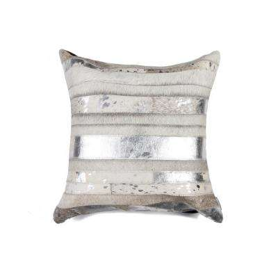 Torino Madrid Cowhide 18 in. x 18 in. Grey/Silver Pillow