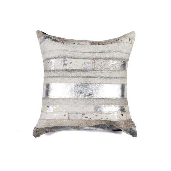 natural Torino Madrid Cowhide 18 in. x 18 in. Grey/Silver Pillow