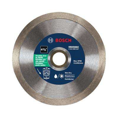 4-1/2 in. Premium Plus Continuous Rim Diamond Blade for Cutting Concrete, Granite, or Brick