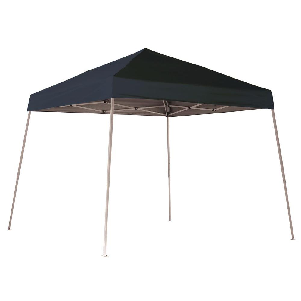 new style 2142d d9777 ShelterLogic 10 ft. W x 10 ft. D Sports Series Slant-Leg Pop-Up Canopy in  Black w/ Steel Frame, Open-Top Design, and Wheeled Bag