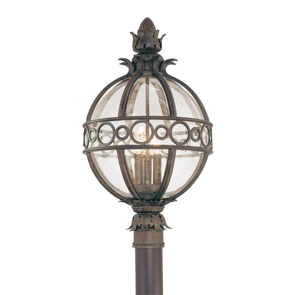 Campanile 3-Light Outdoor Campanile Bronze Post Light