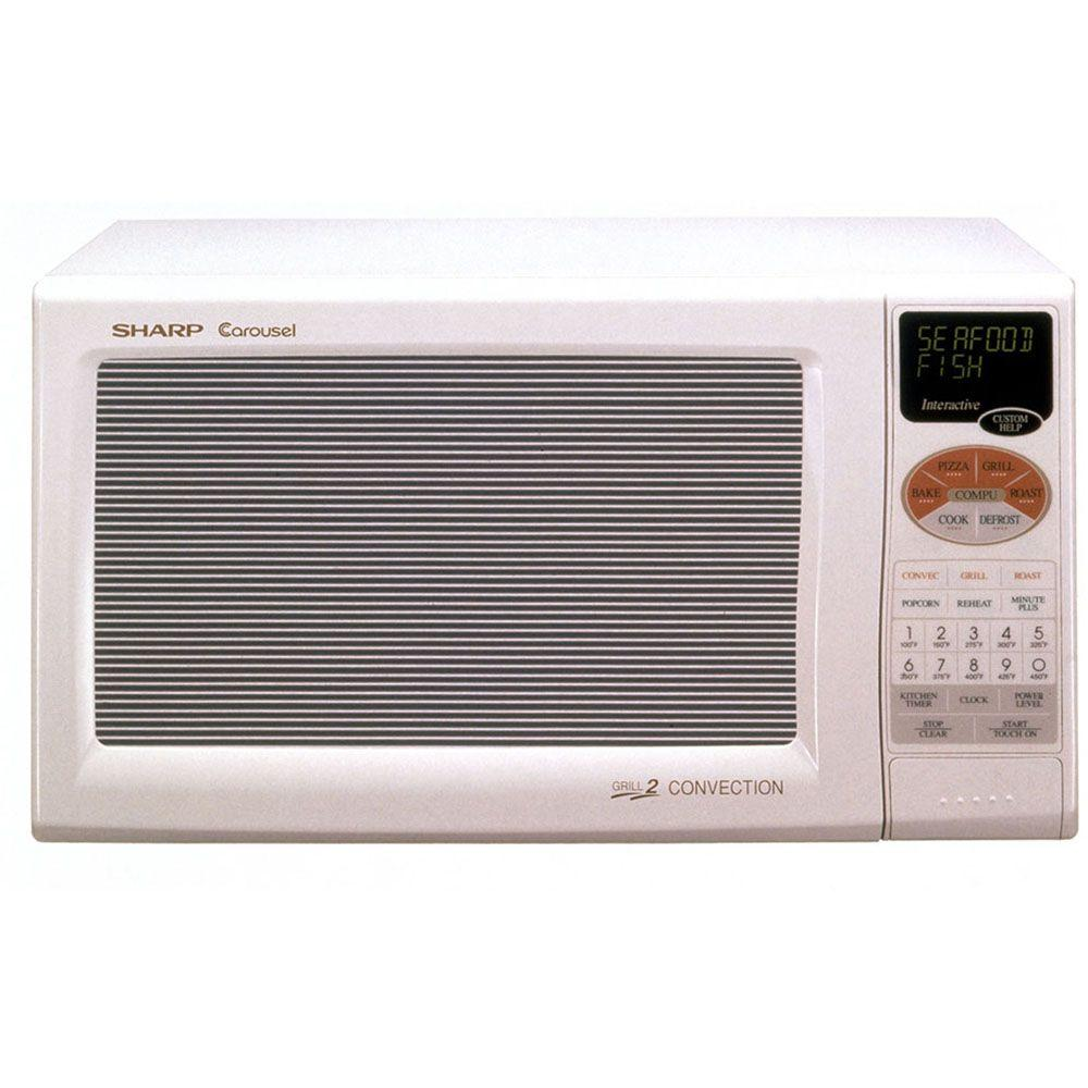Sharp Refurbished 0.9 cu. ft. Countertop Convection Microwave Oven in White-DISCONTINUED