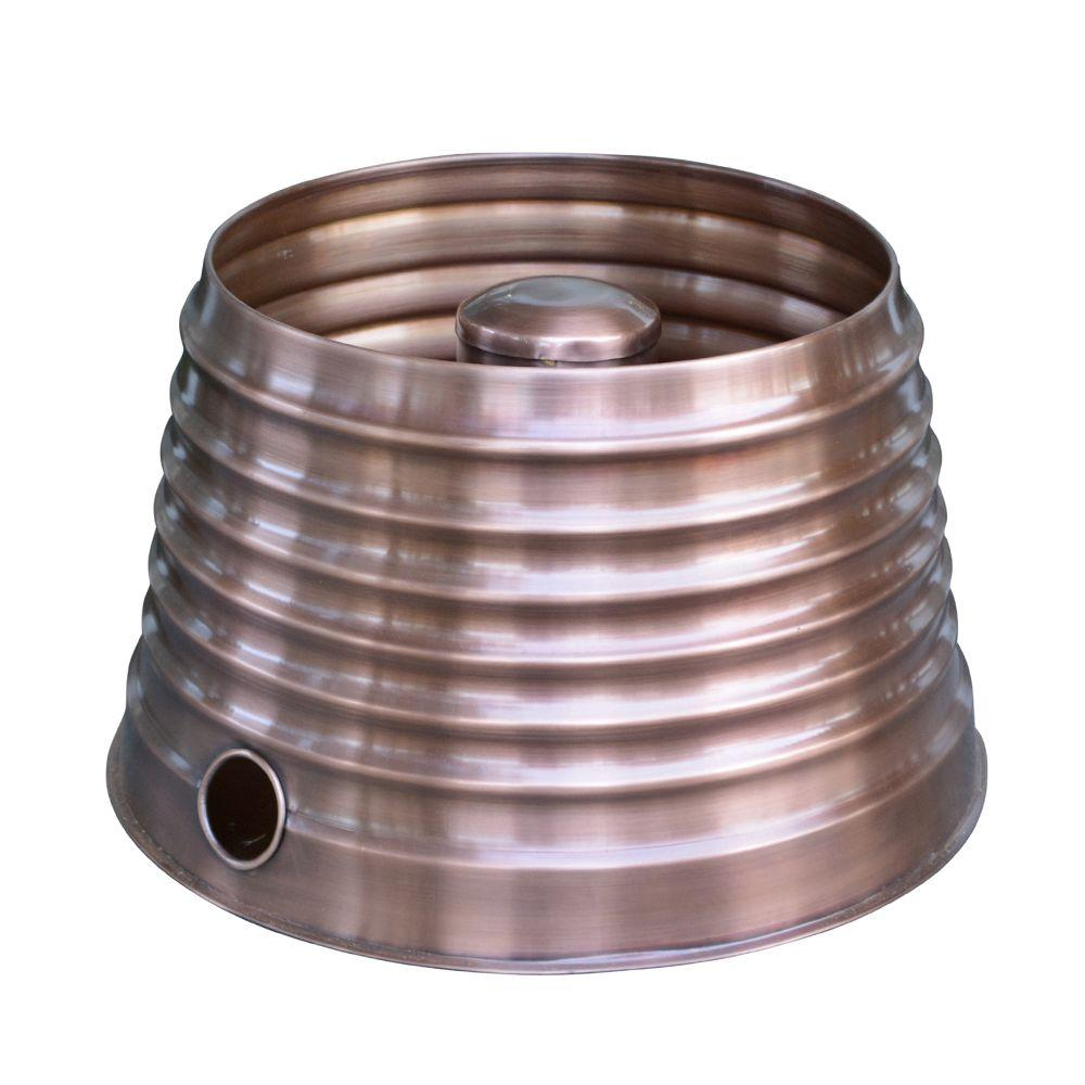 18 in. Round Tapered Ribbed Hose Pot in Copper