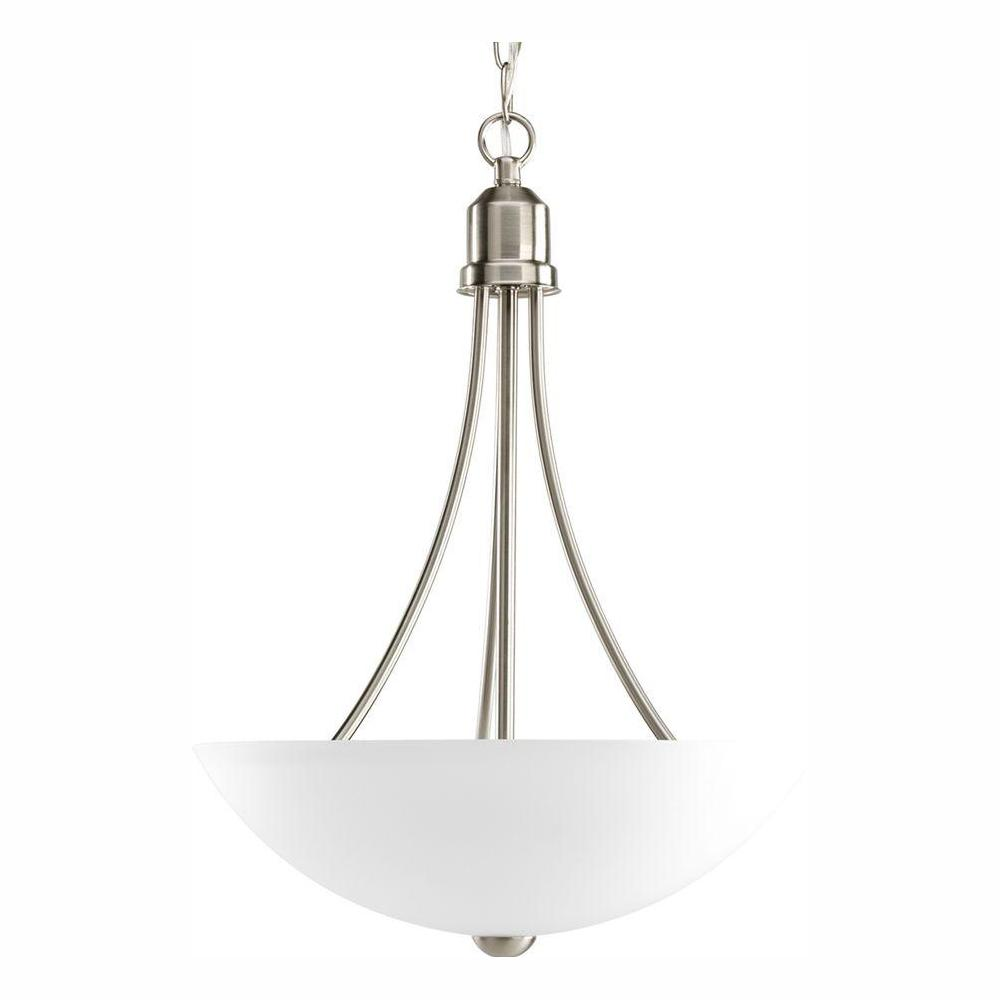 Progress Lighting Gather 2-Light Brushed Nickel Foyer Pendant with Etched Glass