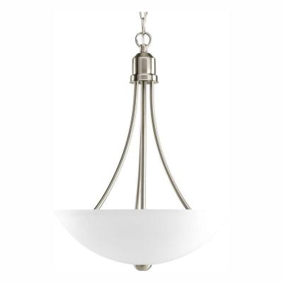Gather 2-Light Brushed Nickel Foyer Pendant with Etched Glass
