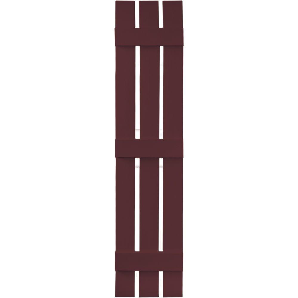 12 in. x 59 in. Board-N-Batten Shutters Pair, 3 Boards Spaced #167 Bordeaux