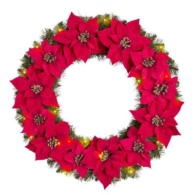 30 in. Berry Bliss Battery Operated Pre-Lit LED Artificial Christmas Wreath with Poinsettia