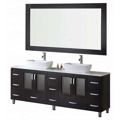 Stanton 72 in. W x 20 in. D Vanity in Espresso with Composite Stone Vanity Top and Mirror in White