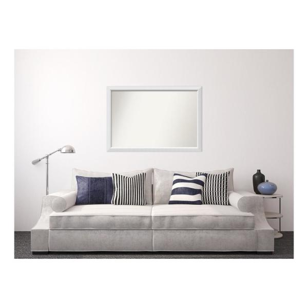Amanti Art Medium Rectangle White Modern Mirror 32 In H X 50 In W Dsw3309147 The Home Depot