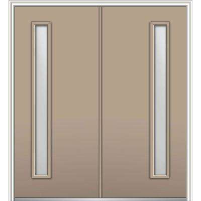 60 in. x 80 in. Viola Right Hand Inswing 1-Lite Clear Low-E Painted Fiberglass Smooth Prehung Front Door